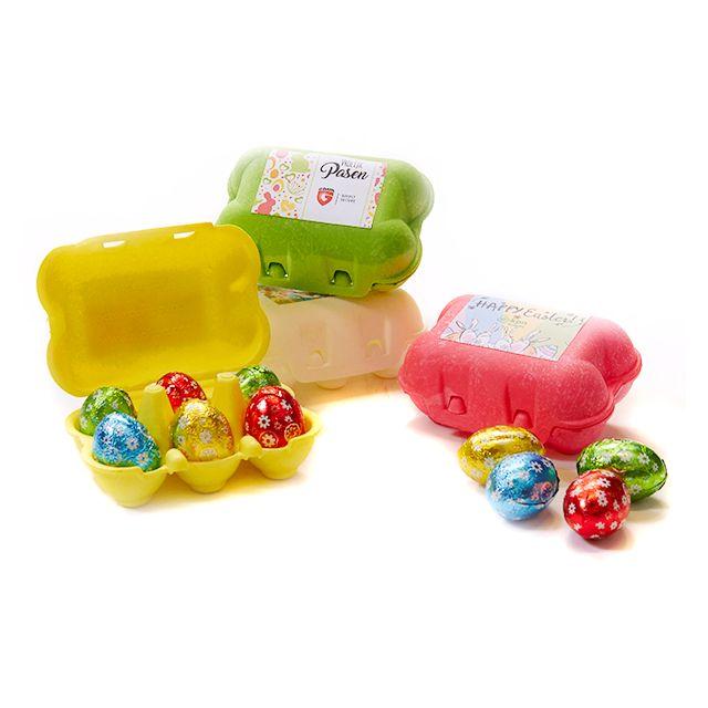 Gekleurde eierdoosjes met 6 paaseitjes