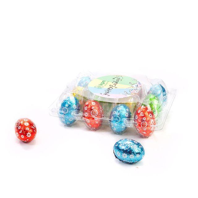 Paaseitjes in transparant eierdoosje