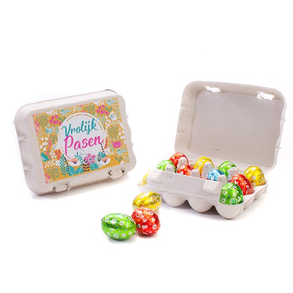 Mini eierdoosje met 12 paaseitjes